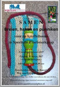 Brei, haak of punnik mee voor een knuffelboom in speeltuin Praebsterkamp!