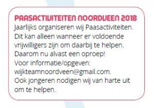 Oproep vrijwilligers Paasactiviteiten Noordveen 2018