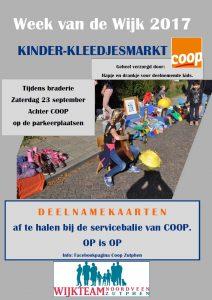 Kinder-kleedjesmarkt achter Coop tijdens braderie Week van de Wijk