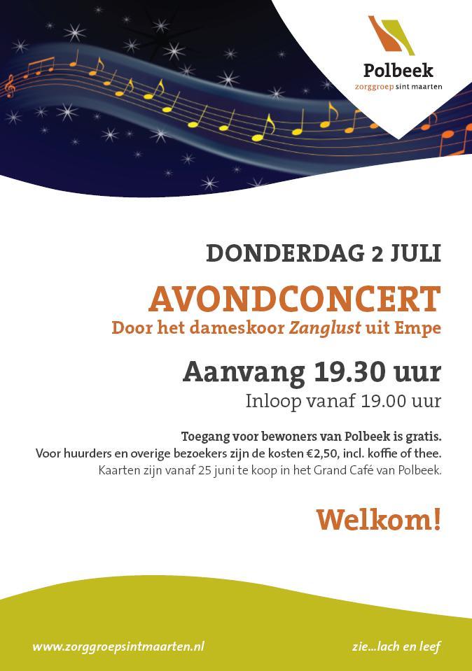 Affiche avondconcert Polbeek 22062015