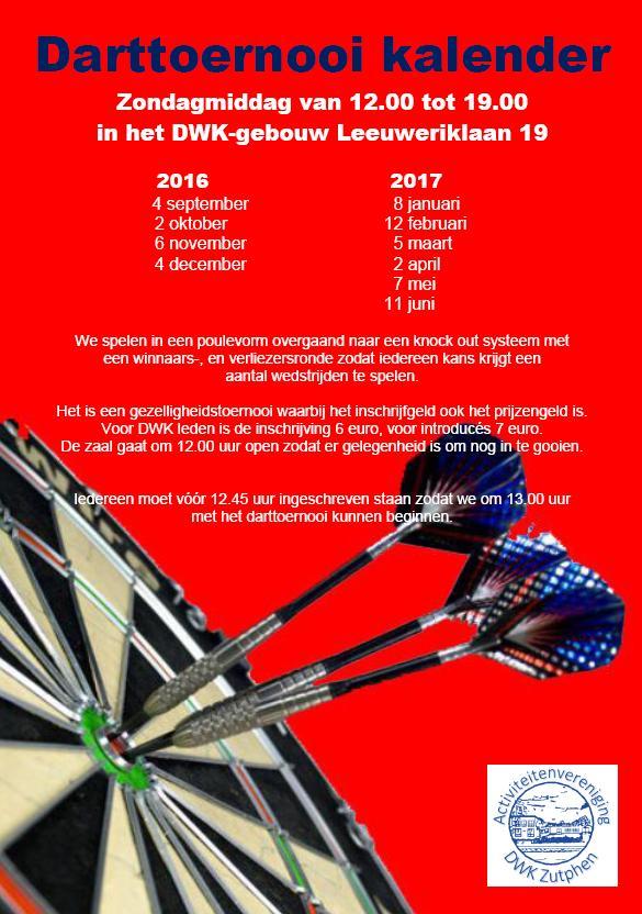Darttoernooi kalender 2016 2017