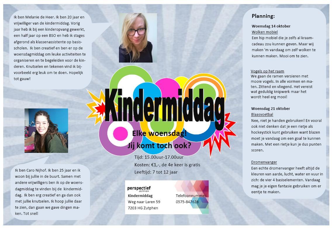 Flyer Kindermiddag Weg naar Laren 14 en 21 oktober 2015