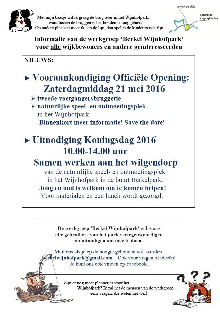Flyer Werkgroep Berkel Wijnhofpark Vooraankondiging Opening en Wilgendorp Koningsdag 2016