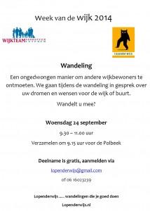 Flyer WvdW Lopenderwijs Wandeling 24 sept 2014