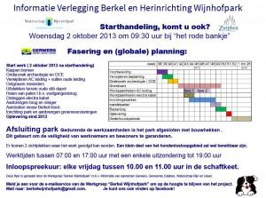 Flyer planning werkzaamheden Berkel Wijnhofpark september 2013