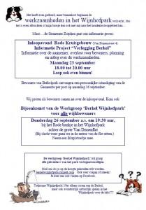 Flyer wijk Werkgroep Berkel Wijnhofpark 23 en 26 september 2013