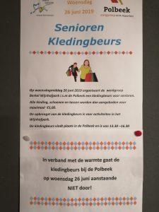 Nog geen Seniorenkledingbeurs in Polbeek, wegens warmte