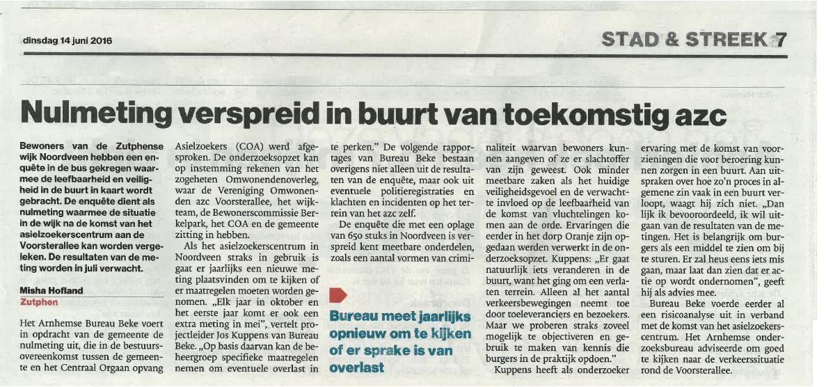 Krantenartikel De Stentor Nulmeting komst azc 14062016