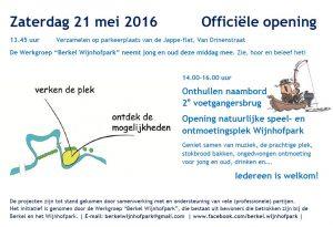 Opening natuurlijke speel- en ontmoetingsplek en 2e brug Wijnhofpark